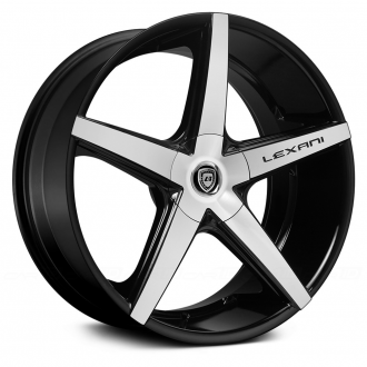 LEXANI - R-FOUR Gloss Black with Machined Face and Covered Lugs
